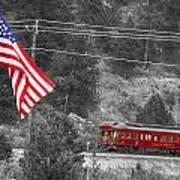 Cyrus K. Holliday Rail Car And Usa Flag Bwsc Poster