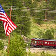 Cyrus K. Holliday Rail Car And Usa Flag Poster