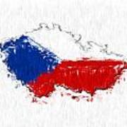 Czech Republic Painted Flag Map Poster