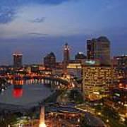 D101l Columbus Ohio Night Skyline Photo Poster