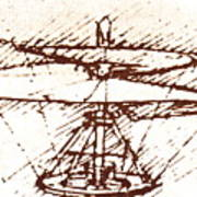 Da Vinci's Helicopter Poster