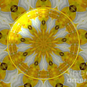 Daffodil And Easter Lily Kaleidoscope Under Glass Poster