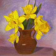 Yellow Daffodils On Purple Poster