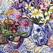 Daffodils Tulips And Iris In A Jacobean Blue And White Jug With Sanderson Fabric And Primroses Poster