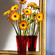 Daisies In Red Vase Poster