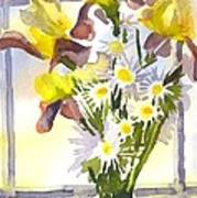 Daisies With Yellow Irises Poster