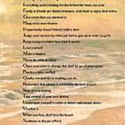Dalai Lama A To Zen Of Life Typography On Watercolor Ocean Sunset Poster