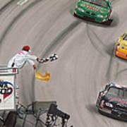 Dale Earnhardt Wins Daytona 500-checkered Flag Poster