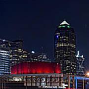 Dallas Skyline Arts District At Night Poster