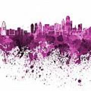 Dallas Skyline In Pink Watercolor On White Background Poster