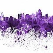 Dallas Skyline In Purple Watercolor On White Background Poster