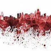 Dallas Skyline In Red Watercolor On White Background Poster