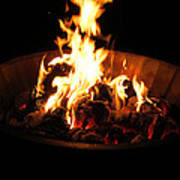 Dancing Amber Fire In Pit Poster