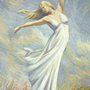 Dancing In Monet's Field Poster by Lucie Bilodeau