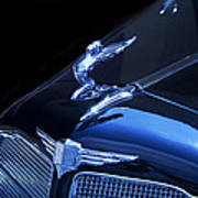 Dark Blue Classic Buick Flying Lady Hood Ornament Poster