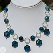 Dark Turquoise Crystal And Faceted Agate Necklace 3676 Poster