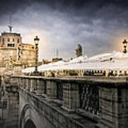 Dark Winter Evening At Castel Sant'angelo - Rome Poster