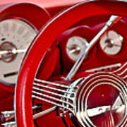Dashboard Red Classic Car Poster
