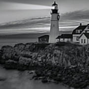Dawn At Portland Head Light Bw Poster by Susan Candelario