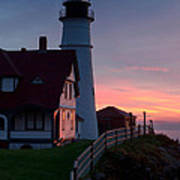 Dawn At Portland Lighthouse Poster