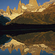 Dawn Fitzroy Massif Reflection Patagonia Poster