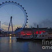 Dawn Light At The London Eye Poster by Donald Davis