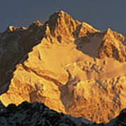 Dawn On Kangchenjunga Talung Face Poster