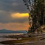 Dawn On Yellowstone Lake Shore Poster