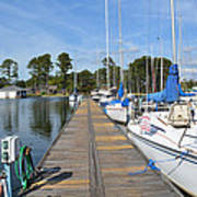 Sailboats On The Boardwalk Poster