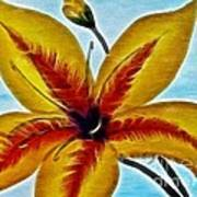 Daylily Expressive  Brushstrokes Poster