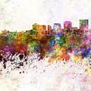 Dayton Skyline In Watercolor Background Poster