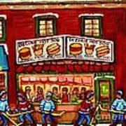 Decarie Hot Dog Restaurant Cosmix Comic Store Montreal Paintings Hockey Art Winter Scenes C Spandau Poster