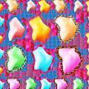 Deco Pattern Patchup Collage Crystals Jewels Rose Flower Petals Poster