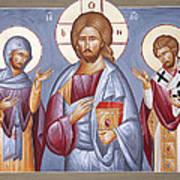 Deisis Jesus Christ St Anastasios And St Eleftherios Poster by Julia Bridget Hayes