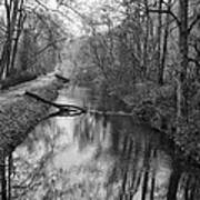 Delaware Canal In Black And White Poster