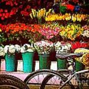 Delivery Bikes At Flower Market Poster