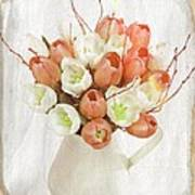 Deluxe Peach Tulips Poster