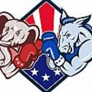 Democrat Donkey Republican Elephant Mascot Boxing Poster