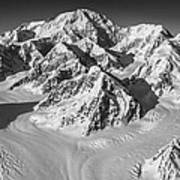 Denali And The Kahiltna Glacier Black And White Poster