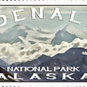 Denali Postage Stamp  Poster