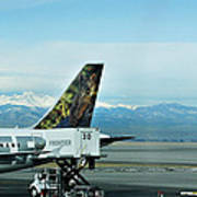 Denver Airport With Rockies In Background Poster
