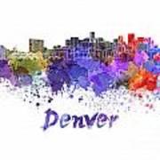 Denver Skyline In Watercolor Poster