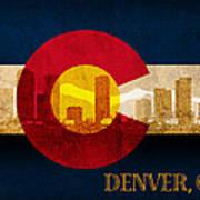 Denver Skyline Silhouette Of Colorado State Flag Canvas Poster