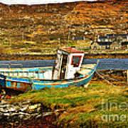 Derelict Fishing Boat On The Irish Coast Poster