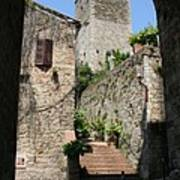 Desert Alley In San Gimignano Poster