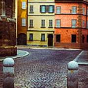 Deserted Street With Colored Houses In Parma Italy Poster