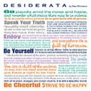 Desiderata - Multi-color - Square Format Poster
