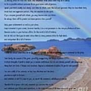 Desiderata On Beach Scene With Rainbow Poster