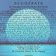 Desiderata On Blue Moon Sunset Poster