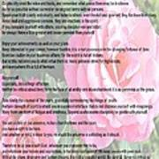 Desiderata On Garden Scene With Pink Roses Poster